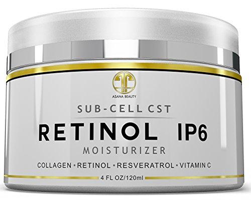 Crème de nuit rétinol ip6, énorme 4 once hydratant pour le visage, yeux, anti-âge, anti-rides raffermissant pour les ridules, sécheresse de la peau, Lotion naturelle w / vitamine C, E, resvératrol, collagène