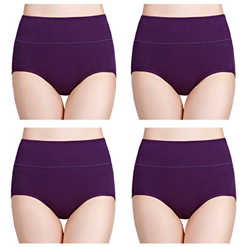 wirarpa Women's Cotton Underwear High Waisted Full Brief Panty Ladies No Muffin Top Underpants 4 Pack Purple Size 10, XXX-Large (Best Place To Shop For Baby Clothes)