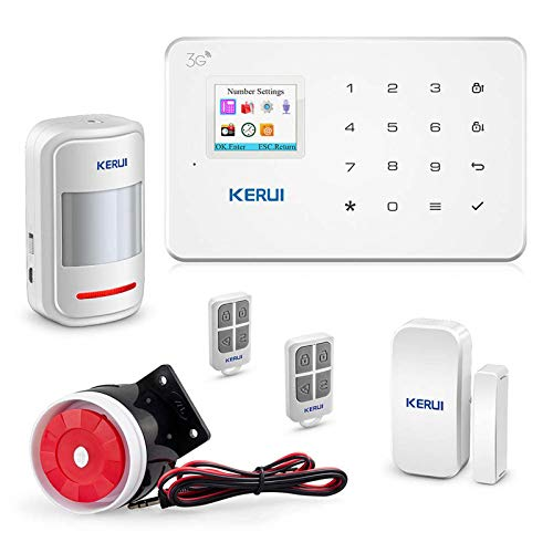 GSM 3G Alarm System Kit – KERUI G183 Wireless WCDMA DIY Home and Business Security Burglar Alarm System Auto Dial Easy to Install,APP Control by Text,not support wifi and/or Landline