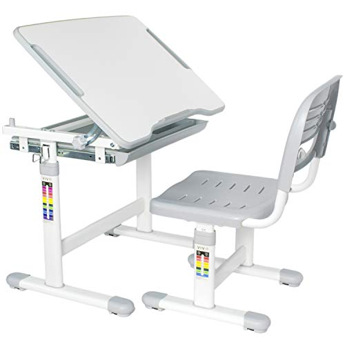 VIVO Height Adjustable Children's Desk and Chair Set, Grey]()