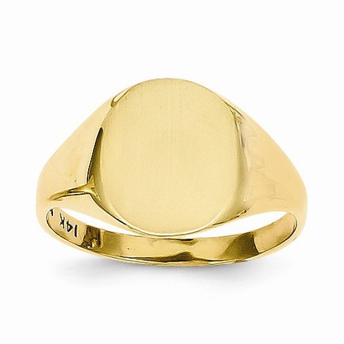 Solid 14k Yellow Gold Signet Engravable Plate Ring (2 to 11mm)