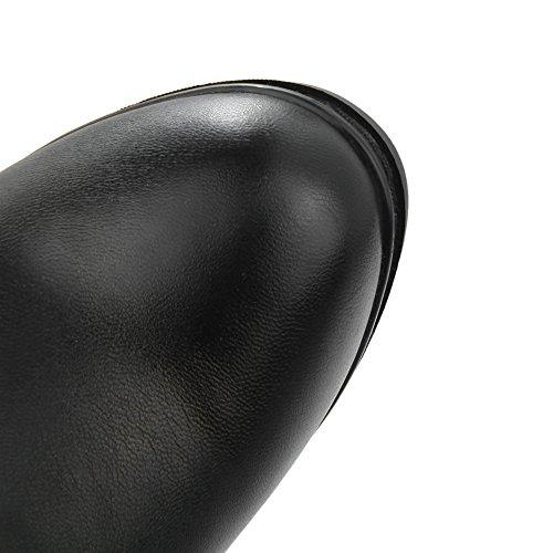 Balamasa Dames Dikke Hakken Platform Geïmiteerd Lederen Laarzen Met Rits Zwart