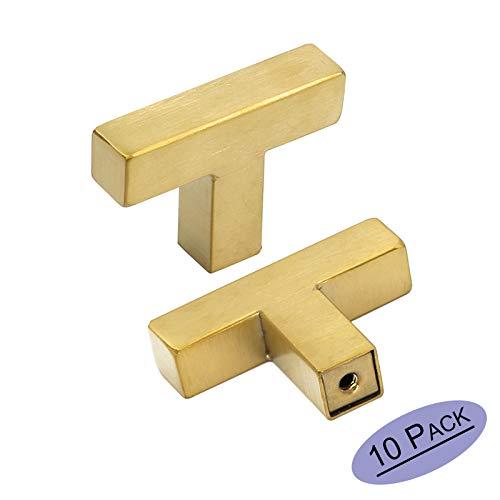 goldenwarm Gold Cabinet Knobs Brushed Brass Kitchen Drawer Knobs 10 Pack - LSJ12GD Single Hole Square Cupboard Bathroom Door Knobs Gold Cabinet Pulls Hardware Brushed Gold Knobs 2in/50mm Overall lenth