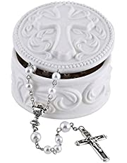 White Porcelain Cross Rosary Jewelry Box, 2 3/4 Inch