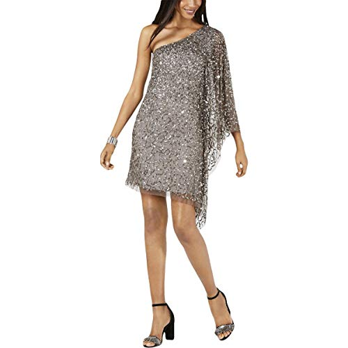 Adrianna Papell Women's Petite One Shoulder Beaded Short Dress, Lead, PL