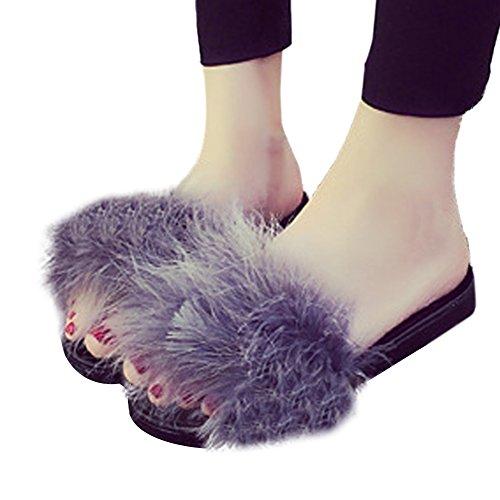 Woopower Femmes Fourrure Pelucheux Slip Sur Sandales Plumes Curseurs Pantoufles Maison Chaussures Plates Gris
