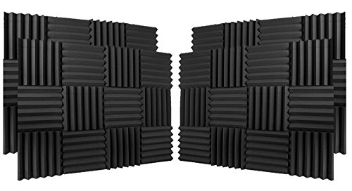 (96 Pk) Charcoal 2''x12''x12'' Soundproofing Acoustic Studio Foam Wedge Style Panels Tiles - Top Quality - Ideal for Home & Studio Absorption Sound Insulation by IZO All Supply