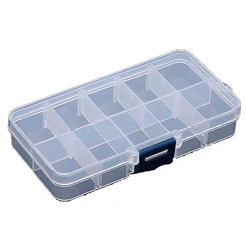 (10 Grids Adjustable Transparent Plastic Storage Box S Component Jewelry Tool Bead Organizer Nail Art Tip Case Blue)