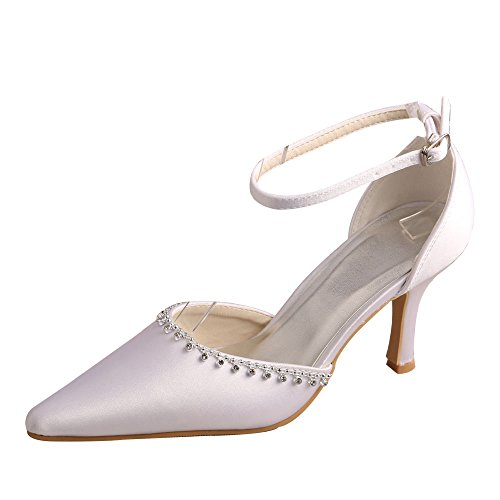 Wedopus MW375 Women's Ankle-strap Pointed Toe Pumps Stiletto Heel Satin Wedding Prom Shoes White 4rBaxah
