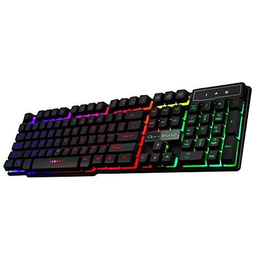 Gaming Keyboard, LED Backlit USB Wired Computer Keyboard Mechanical-Feel Keyboard w/ Suspension Keys Design & 3-Backlit Mode Setting (Black)