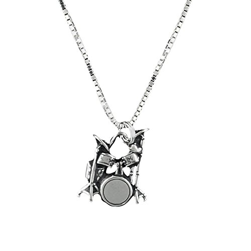 Corinna-Maria 925 Sterling Silver Music Drum Set Pendant Necklace 18 inch Chain ()