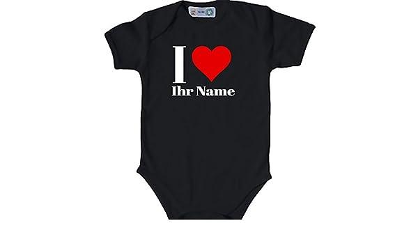 Baby Body bio Body Suit corta para I Love Corazón Nombre Personalizado Pelele negro Negro Talla:50-56: Amazon.es: Bebé