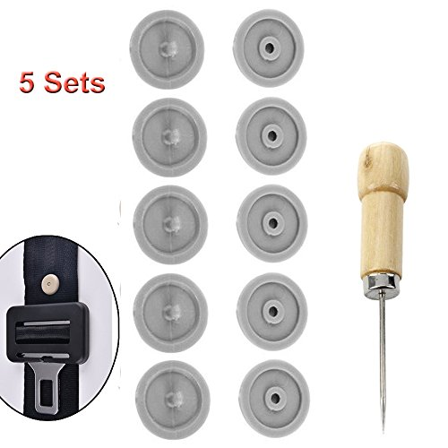 Y-Axis 5 x Seat Belt Button Buckle Clip Stop - Universal Fit Stopper Kit Light Grey (5 Sets) ()