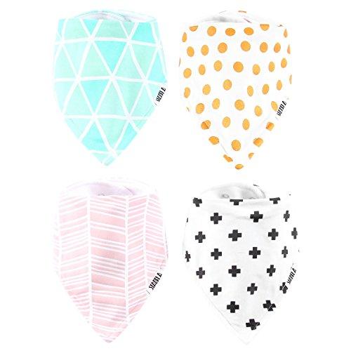 Stadela Baby Bandana Bib Set, 4-Pack Absorbent Soft Cotton Drool and Teething Bandana Bibs, Baby Shower Gift for Girls