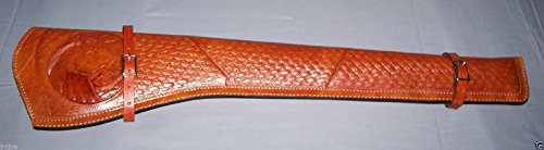 Scabbard New (TAN Color) Genuine Leather Rifle Gun Saddle Scabbard Holster Hand Tooled