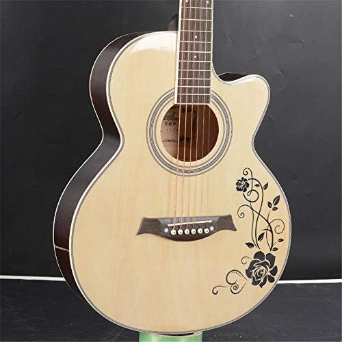 アコースティックギター 40インチの初心者フォークアコースティックギター見つからない初心者にはウッドギター入門します ギター (色 : Natural, Size : A)