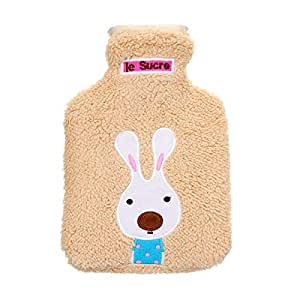 TT WARE 21x14cm Portable Hot Water Bottle Bag Creative Cute Cartoon Rabbit Hand Warmer-Brown