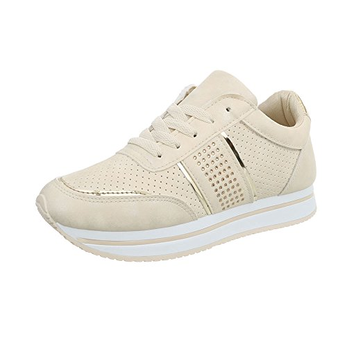 Sneakers Rl1715 Mode Espadrilles design Low Beige Baskets Chaussures Plat Ital Femme qSHUwU
