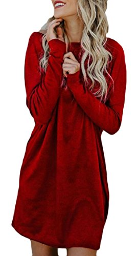 Dress Casual Shirt Wine T Women's Tunic Red Sleeve Soft Stretchy Jaycargogo Long 8q56zx