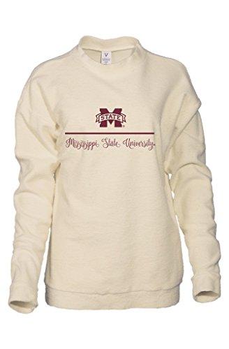Official NCAA Mississippi State University Bulldogs HAIL STATE BULLY Women's Boyfriend-Fit Vintage Looped and Pilled Herrington Crew Neck Fleece Full Sleeve Premium Sweatshirt (University Mississippi State Alumni)