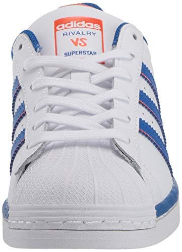 adidas Originals Men's Superstar Shoes Sneaker, White/Blue/Orange, 16