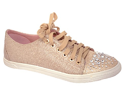 Your Party Shoes Womens Lexi Metallic Rhinestone Fashion Sneaker, Nude, 9 M US