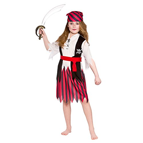 Girls Shipwreck Pirate Fancy Dress Up Party Costume Halloween Child Outfit Red]()
