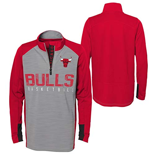 Outerstuff NBA NBA Kids & Youth Boys Chicago Bulls Shooter 1/4 Zip Long Sleeve Top, Grey, Youth -