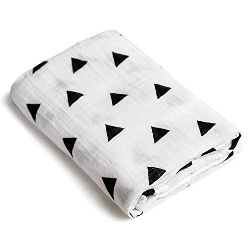 - Triangle Print Newborn Baby Swaddle Blanket/Ultra Soft, 100% Cotton Muslin Receiving Blankets (Triangle Print [B&W])