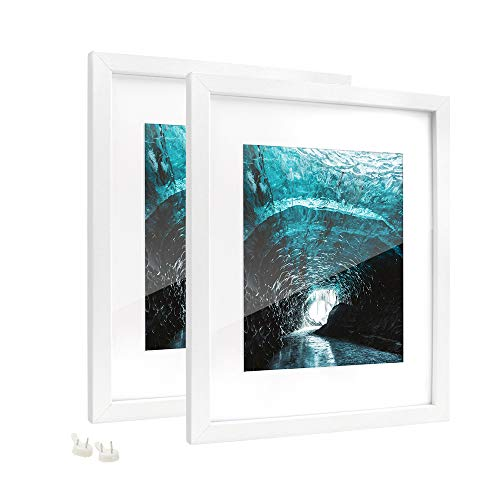 Afuly 11x14 White Picture Frames with 8x10 Mat Simple Smooth Finish Ready to Hang and Stand for Wall and Desk,Set of ()