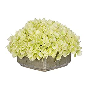 House of Silk Flowers Artificial Green Hydrangea in Crackle Square Ceramic 34