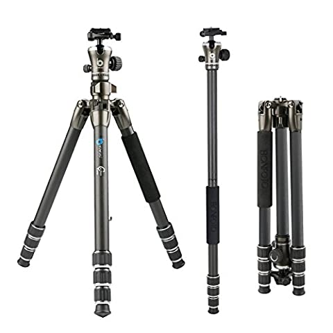 BONFOTO Carbon Fiber B671C Lightweight Portable Camera Travel Tripod with Ball Head,Two Levels and Carrying Bag for DSLR (Bronze Grey)