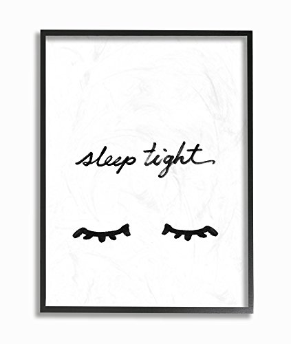 Stupell Home Décor Sleep Tight Eyelash Minimalist Illustration Oversized Framed Giclee Texturized Art, 16 x 1.5 x 20, Proudly Made in USA