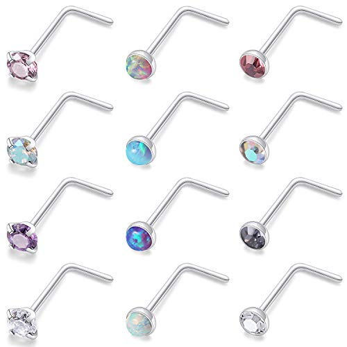 Kridzisw 12 Pcs 20 Gauge Stainless Steel Nose Rings Studs L Shaped Crook Nose Body Piercing Jewelry 2mm Diamond CZ Nose Stud L Bend for Women Men Girl Piercing
