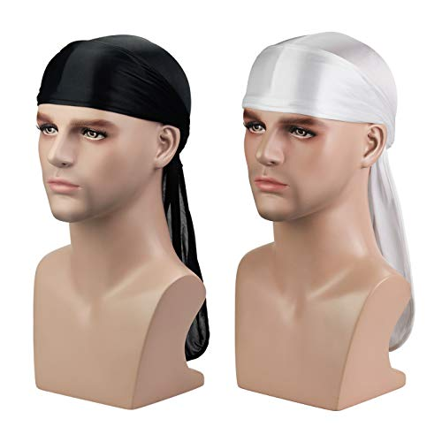 - ASHILISIA Silky Durag Headwraps (2PCS/3PCS) with Extra Long Tail and Wide Straps for 360 Waves, Black+white, Free size