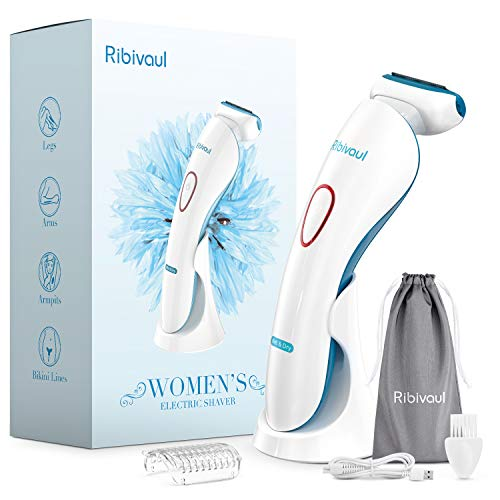 Women Electric Razors, Ribivaul Electric Shaver with 3-in-1 Shaving Blade and 3-d Floating foil, Rechargeable Womens Razors with 3 Charging Mode and LED Light, Wet and Dry Use Razor for Arms, Legs