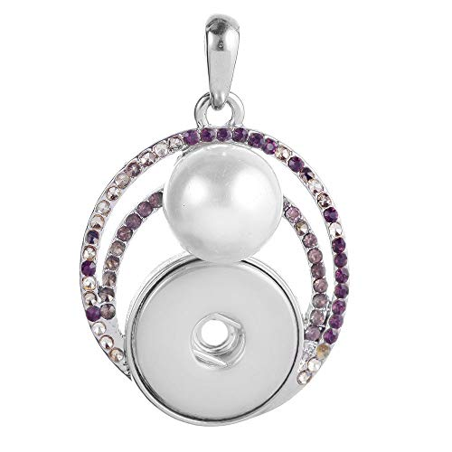 1pc Hot Women Crystal Jewelry Necklace Pendant Fit 18mm Noosa Snap Button PF0X
