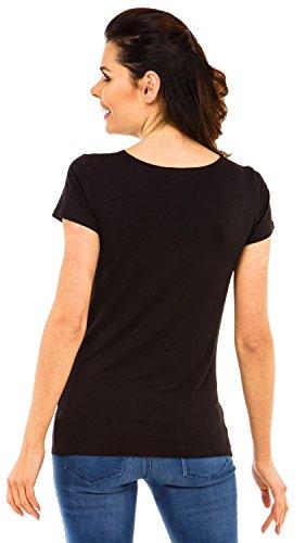 Zeta Ville - Camiseta Premamá T-shirt estampado rayos X niño para mujer - 505c Negro