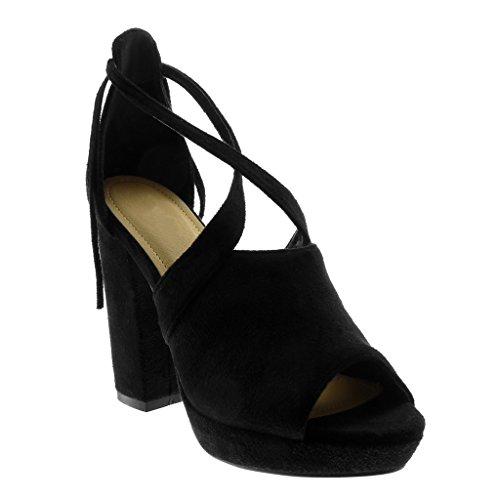 Sandale Peep 11 toe 5 Cm Angkorly Lanière Chaussure Bloc Cheville Lanières Talon Plateforme Mode Noir Femme Croisées Haut Mule wgEIfq