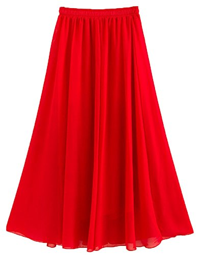 Golden service Women's Stretched Waist Chiffon Long Skirts Flowy Skirt