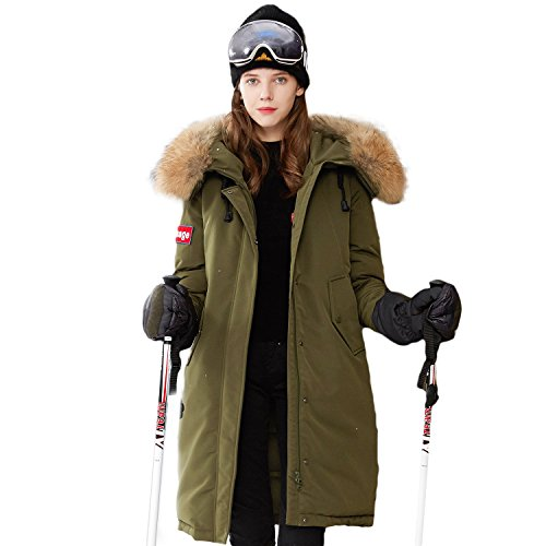 100a Cable - BOSIDENG Women's Harsh Deep Winter Thicken Goose Down Jacket Parka Real Fur Collar Down Coat Resist -30℃ Windbreaker Outerwear Guyrope Earphone Cable Fixation Insignia Decoration (180/100A, 4135)