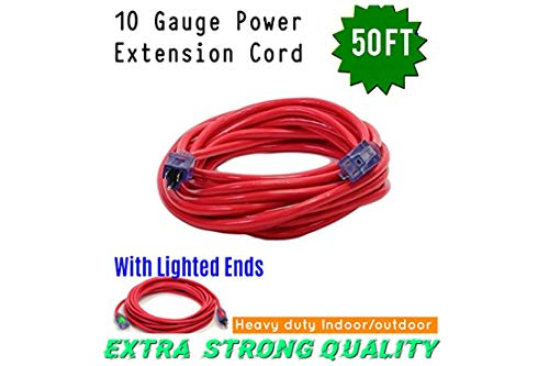 Century Contractor Grade 50 ft 10 Gauge Power Extension Cord 10/3 Plug, 50 ft outdoor extension cord, Great for Commercial Use, Gardening, and Major Appliances cord With Lighted Ends (50 ft,red) by pizety