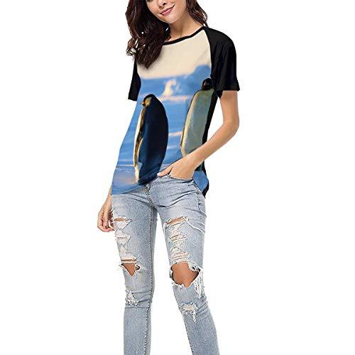 Women's Summer Short Sleeve - Ice Penguin Casual Raglan Tee Baseball Tshirts Tops Blouse M Black