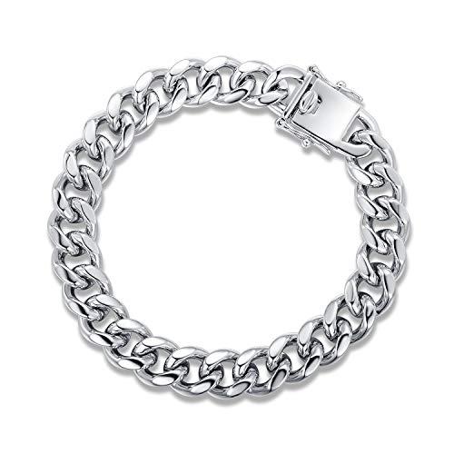 (Barzel 18K Rose Gold, White Gold or Gold Plated 7.7mm Mens Cuban Chain Bracelet (Silver))