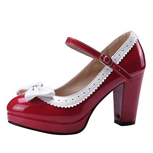 Fibbia Donna Carine Mary Artfaerie Jane Tacco Alto Scarpe Plataforma Con Lolita E Chiuso Rosso XdqHxw