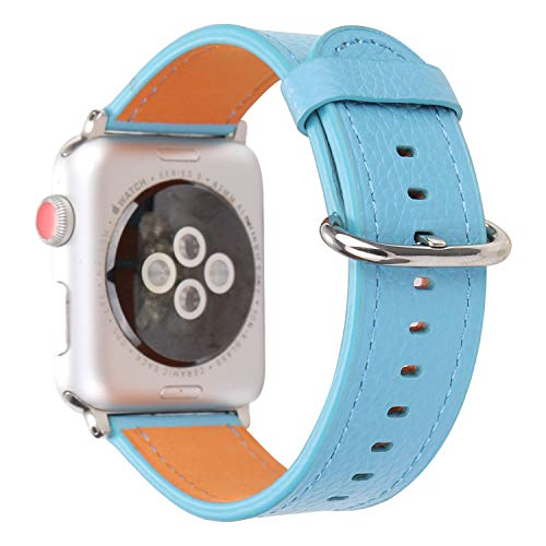 Top Grain Leather Watch Band Strap Pure Color Accessory Wristband Bracelet Compatible with 38mm Apple Watch Series 3/2/1, All Models (Light Blue)