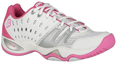 Prince T22 Womens Tennis Shoes (8, White/Pink)