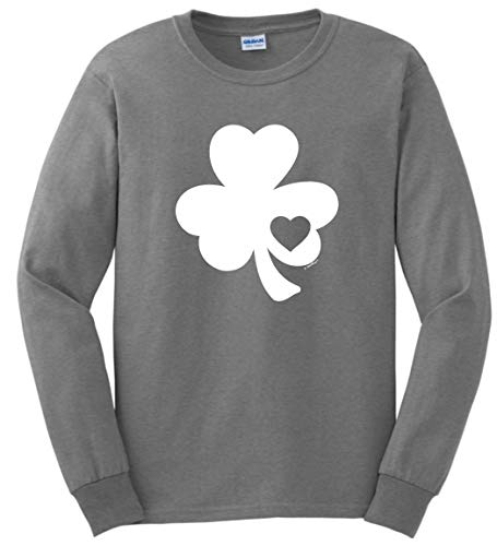 St Paddys Day Costume Ireland Apparel Lucky Irish Gifts Shamrock Heart Cutout St Pats Day Long Sleeve T-Shirt Medium SpGry Sport Grey ()