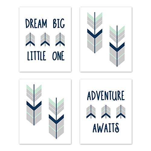 Sweet Jojo Designs Grey, Navy Blue and Mint Woodland Arrow Wall Art Prints Room Decor for Baby, Nursery, and Kids for Mod Arrow Collection - Set of 4 - Dream Big Little One