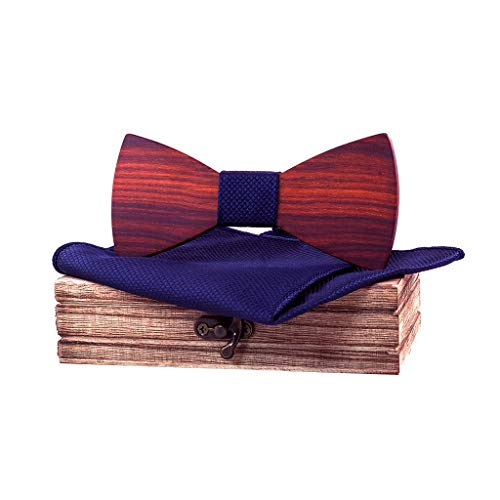 Men's Novelty Necktie Wood Bow Tie 3Pc Hollow Carved Bow tie +Jacquard Classic Square & Wooden box by SFE